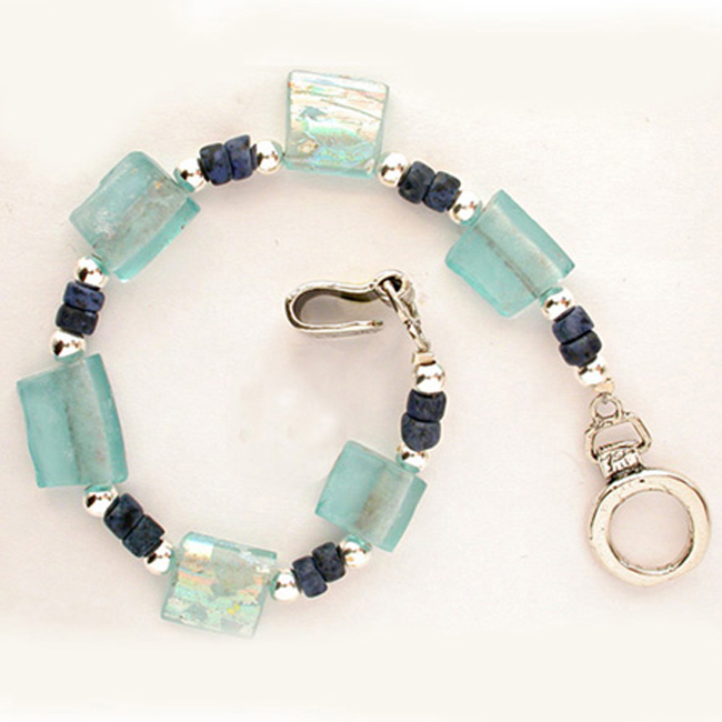 Unique Handmade Glass Bracelet 2-Row Bracelet of Ancient Roman Glass Beads with 2 Silver Charms