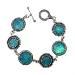 Handmade Roman Glass Jewelry 925 Sterling silver Bracelet Glass Jewelry Designer Bracelet