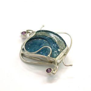 Roman Glass Jewelry Sterling Silver Handmade One of a Kind Designer Brooches