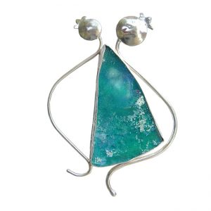 Handmade Roman Glass Jewelry 925 Sterling silver Brooch