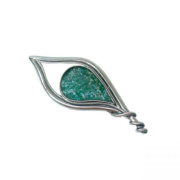 Handmade Roman Glass Jewelry 925 Sterling silver Brooch