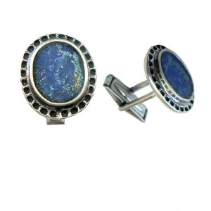 Roman Glass Jewelry Sterling Silver Designer Cufflinks