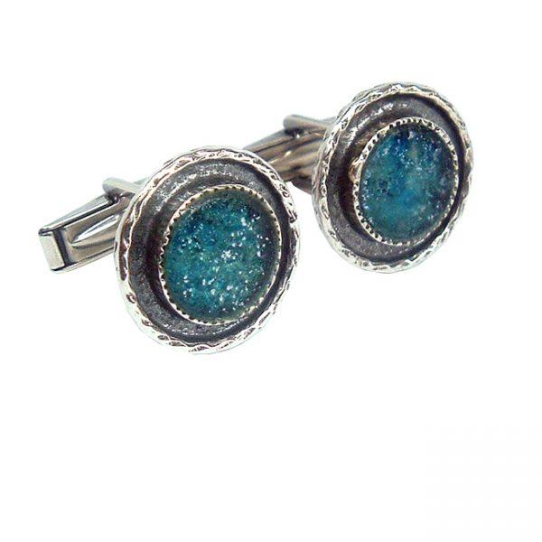Handmade Roman Glass Jewelry 925 Sterling silver Cufflinks