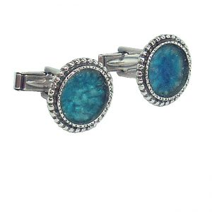 Handmade Roman Glass Jewelry 925 Sterling silver Cufflinks