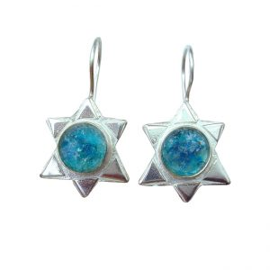Handmade Roman Glass Jewelry Sterling silver Star of David Earrings