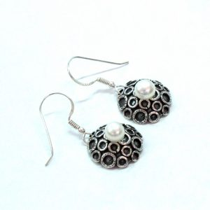 Sterling Silver Jewelry Designer Earrings with Freshwater Pearls