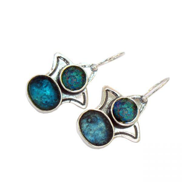 Roman Glass Jewelry Sterling Silver Rimmon Designer Earrings