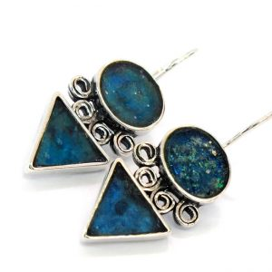 Roman Glass Jewelry Sterling Silver Designer Earrings