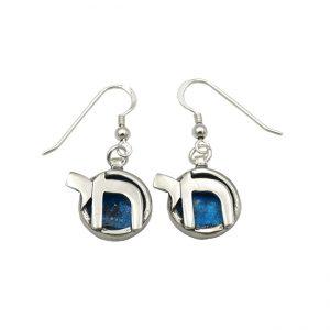 Handmade Roman Glass Jewelry Sterling silver Chai Earrings