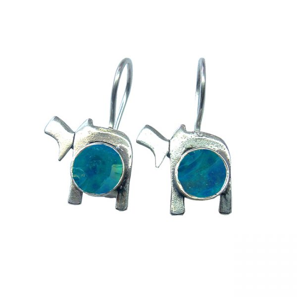 Handmade Roman Glass Jewelry Sterling silver Chai Earrings