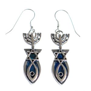 Roman Glass Jewelry Sterling silver Messianic Earrings Handmade