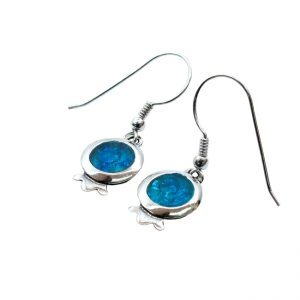 Handmade Roman Glass Jewelry Sterling silver Pomegranate Earrings