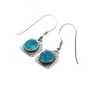 Handmade Roman Glass Jewelry 925 Sterling silver Earrings