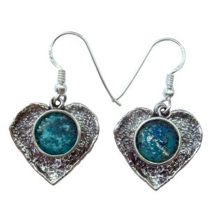Roman Glass Jewelry Sterling Silver Designer Heart Earrings
