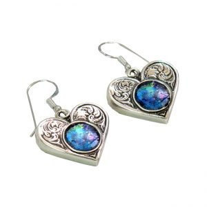 Handmade Roman Glass Jewelry Sterling silver Heart Earrings