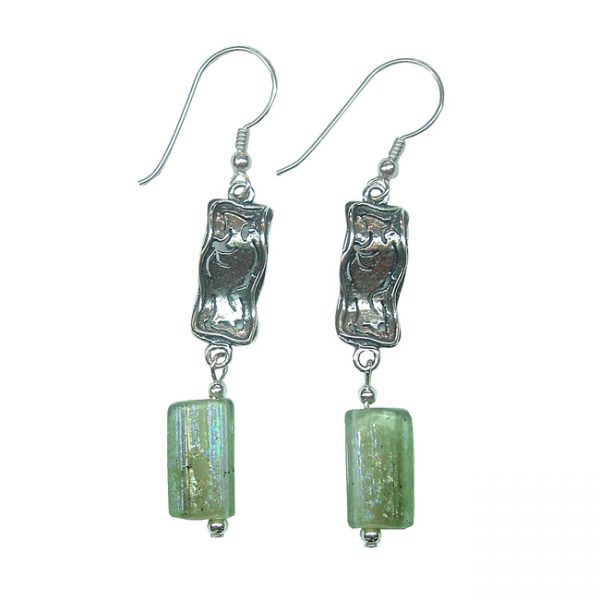 Roman Glass Jewelry Sterling Silver Handmade One of a Kind Designer Earrings