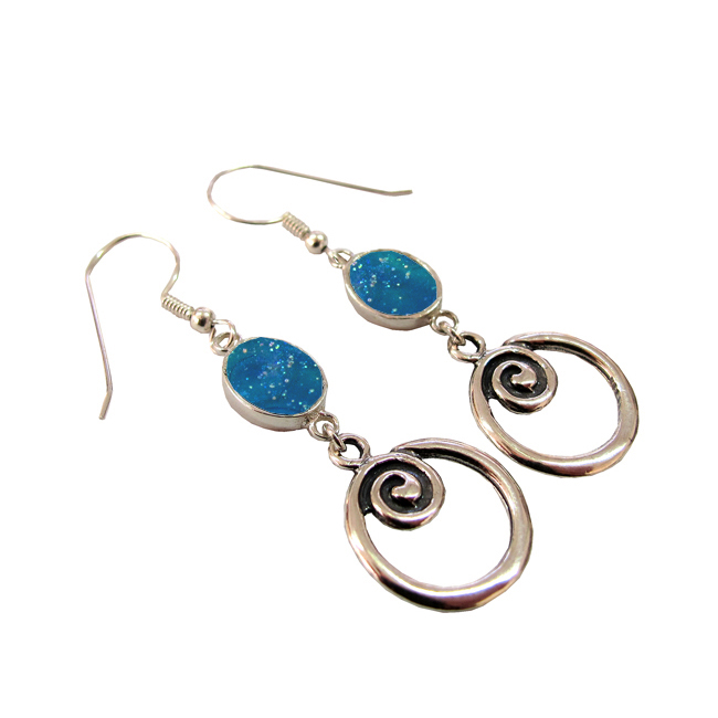 Ancient Roman Glass Caesarea Seashore Design Earrings