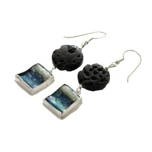 Roman Glass Jewelry Sterling Silver Handmade One of a Kind Designer Earrings