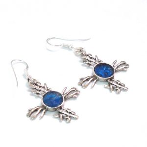 Roman Glass Jewelry Sterling Silver Designer Cross Earrings