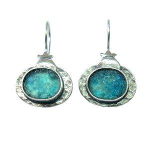 Handmade Roman Glass Jewelry Sterling silver Pomegranate Earrings