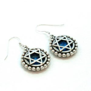 Roman Glass Jewelry Sterling Silver Designer Magen David Earrings