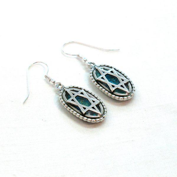 Handmade Roman Glass Jewelry Sterling silver Star of David Earrings