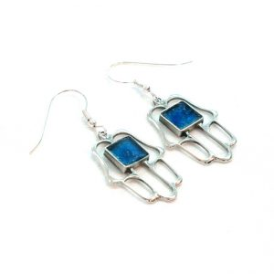 Roman Glass Jewelry Sterling Silver Designer Hamsa Earrings