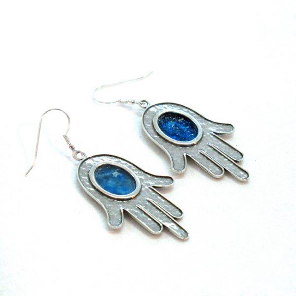 Roman Glass Jewelry Sterling silver Hamsa Earrings Handmade