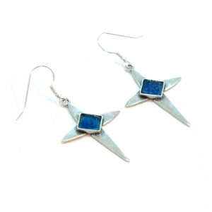 Handmade Roman Glass Jewelry 925 Sterling silver Cross Earrings