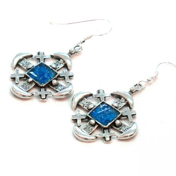 Roman Glass Jewelry Sterling Silver Designer Jerusalem Cross Earrings
