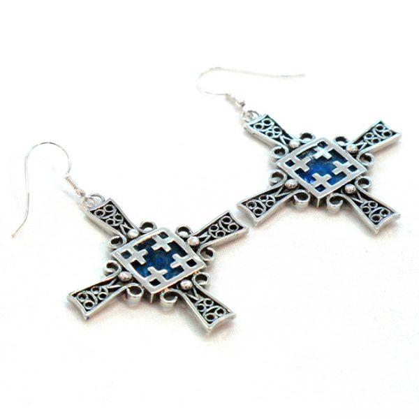 Roman Glass Jewelry Sterling Silver Designer Jerusalem Cross Earrings