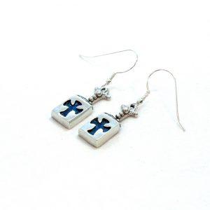 Roman Glass Jewelry Sterling Silver Designer Cross Earrings