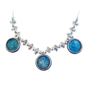 Roman Glass Jewelry Sterling Silver Designer Necklace