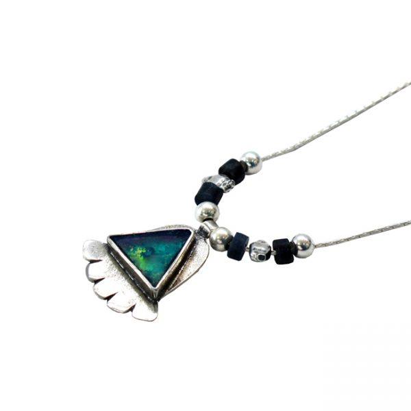 Roman Glass Jewelry Sterling Silver Designer Hamsa Necklace