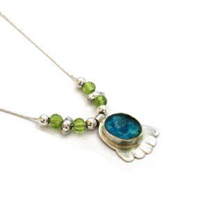 Handmade Roman Glass Jewelry Sterling silver Hamsa Pendant