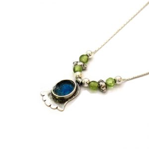 Roman Glass Jewelry Sterling Silver Designer Hamsa Necklace