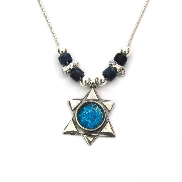 Handmade Roman Glass Jewelry Sterling silver Star of David Pendant