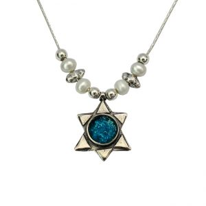Roman Glass Jewelry Sterling Silver Designer Magen David Necklace