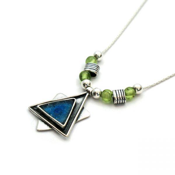 Handmade Roman Glass Jewelry Sterling silver Star of David Pendant