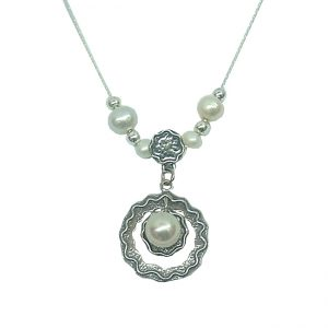 Sterling Silver Jewelry Designer Necklace with Freshwater Pearls