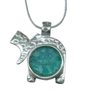 Handmade Roman Glass Jewelry Sterling silver Chai Necklace
