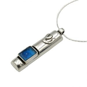 Handmade Roman Glass Jewelry Sterling silver Mezuzah Necklace