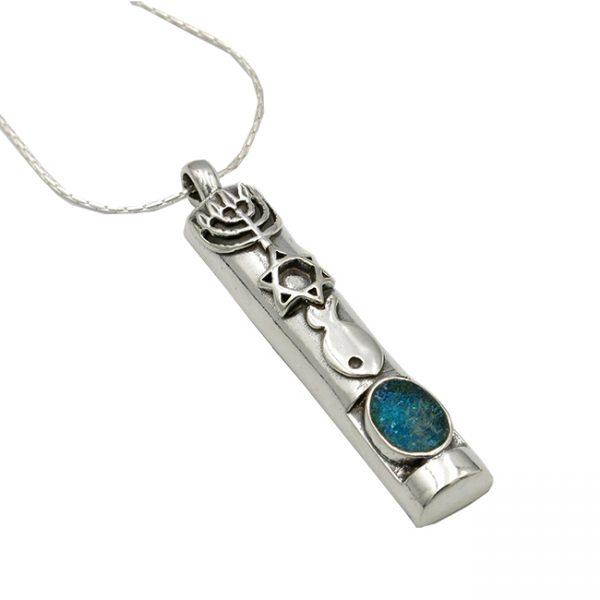 Handmade Roman Glass Jewelry Sterling silver Mezuzah Necklace
