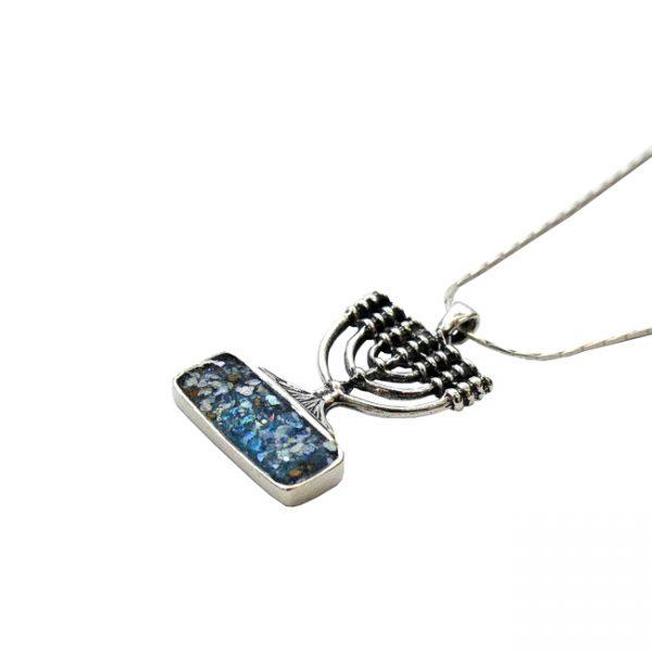 Roman Glass Jewelry Sterling Silver Menora Designer Necklace