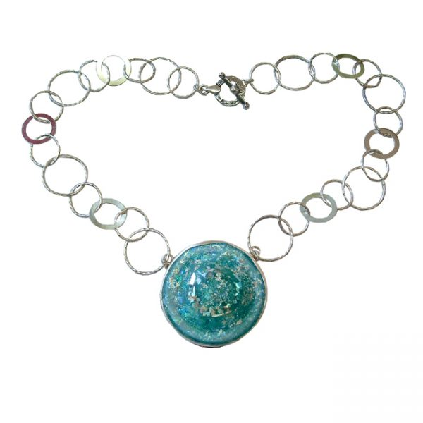 Roman Glass Jewelry Sterling Silver Handmade One of a Kind Designer Necklace