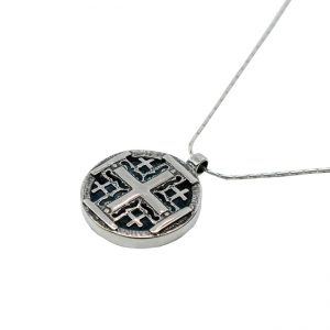 Roman Glass Jewelry Sterling Silver Designer Jerusalem Cross Necklace