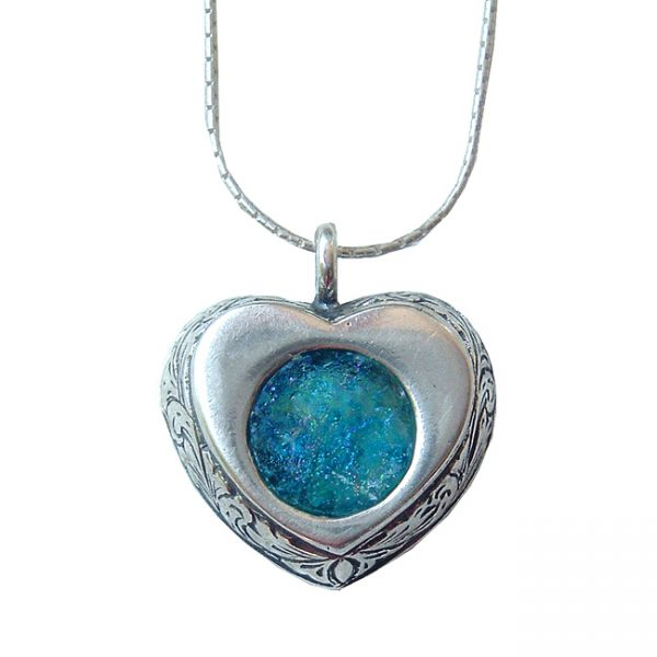 Roman Glass Jewelry Sterling Silver Designer Heart Necklace
