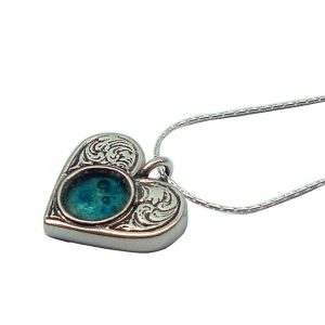 Handmade Roman Glass Jewelry Sterling silver Heart Necklace