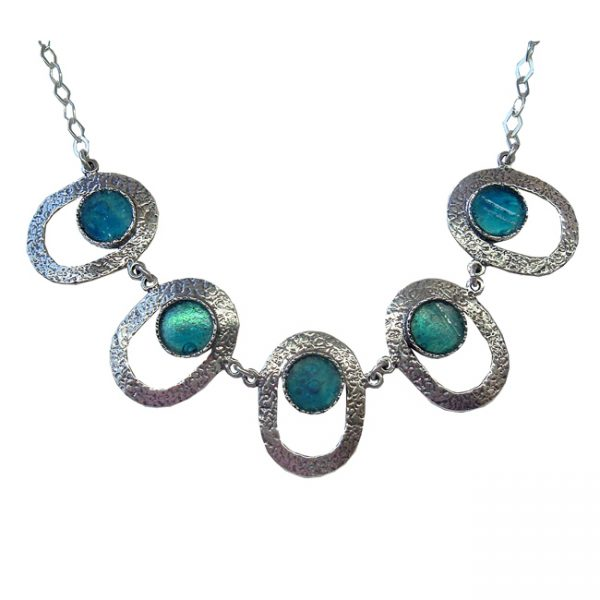 Handmade Roman Glass Jewelry 925 Sterling silver Necklace