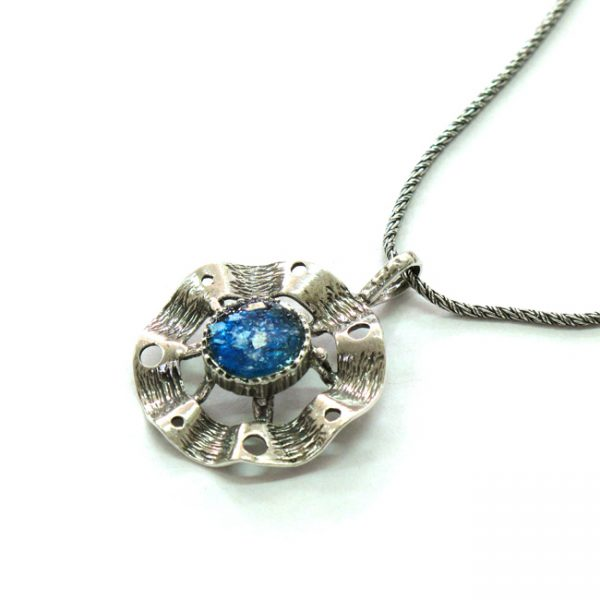 Roman Glass Handmade Roman Glass Jewelry 925 Sterling silver Necklace Sterling Silver Designer Necklace